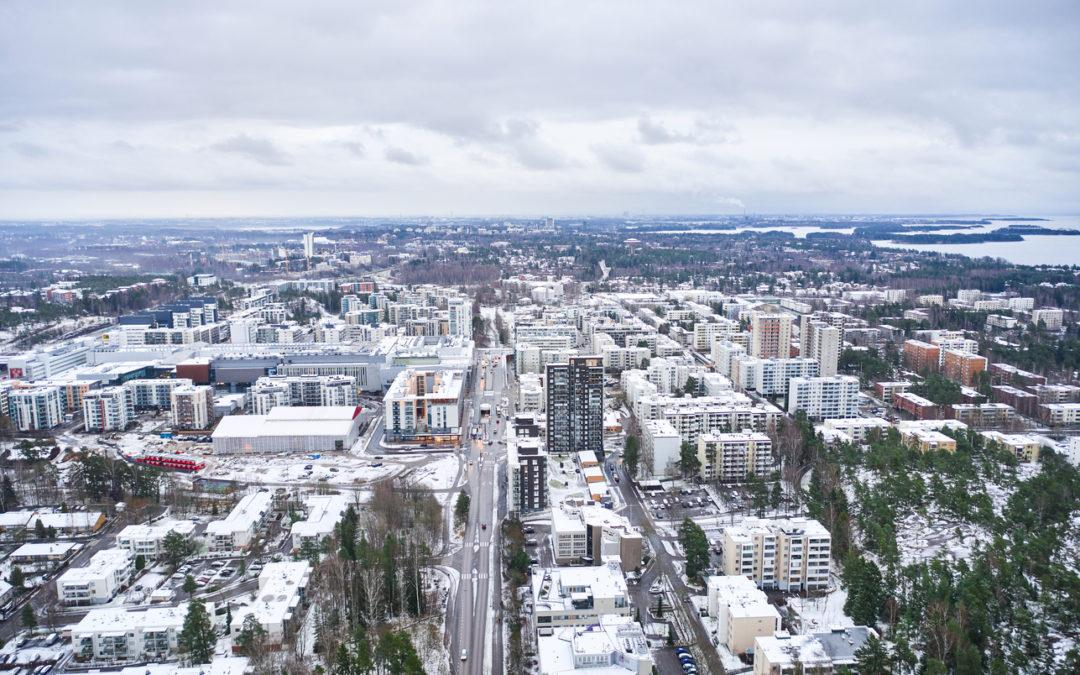 Aerial view of Matinkyla neighborhood of Espoo, Finland. First snow in the city.